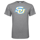Grey T Shirt-Interlocking SU Distressed