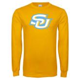 Gold Long Sleeve T Shirt-Interlocking SU