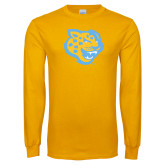 Gold Long Sleeve T Shirt-Jaguar Head