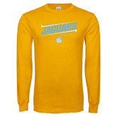 Gold Long Sleeve T Shirt-Slanted Jaguars w/ Logo