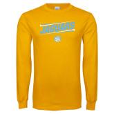 Gold Long Sleeve T Shirt-Slanted Jaguars w/ Logo