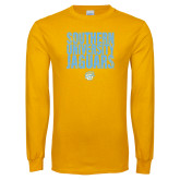 Gold Long Sleeve T Shirt-Southern University Jaguars Stacked