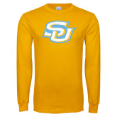 Gold Long Sleeve T Shirt-Interlocking SU Distressed