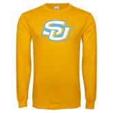 Gold Long Sleeve T Shirt-Interlocking SU Distressed