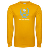 Gold Long Sleeve T Shirt-Southern University Football Helmet