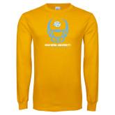 Gold Long Sleeve T Shirt-Southern University Football Helmet