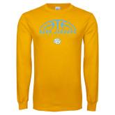Gold Long Sleeve T Shirt-SUBR Jaguars Basketball Half Ball