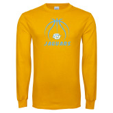 Gold Long Sleeve T Shirt-Jaguars Basketball Contour Lines