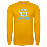 Gold Long Sleeve T Shirt-Jaguars Soccer Geometric