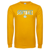 Gold Long Sleeve T Shirt-Southern University Jaguars Softball Texture