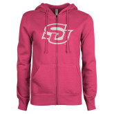ENZA Ladies Fuchsia Fleece Full Zip Hoodie-Interlocking SU White Soft Glitter