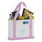 Contender White/Pink Canvas Tote-Interlocking SU