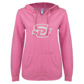 ENZA Ladies Hot Pink V Notch Raw Edge Fleece Hoodie-Interlocking SU White Soft Glitter