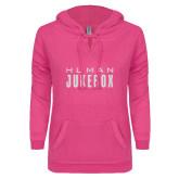 ENZA Ladies Hot Pink V Notch Raw Edge Fleece Hoodie-Human Jukebox Wordmark Glitter