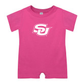 Bubble Gum Pink Infant Romper-Interlocking SU