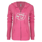ENZA Ladies Hot Pink Light Weight Fleece Full Zip Hoodie-Interlocking SU White Soft Glitter