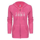 ENZA Ladies Hot Pink Light Weight Fleece Full Zip Hoodie-Human Jukebox Wordmark Glitter
