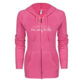 ENZA Ladies Hot Pink Light Weight Fleece Full Zip Hoodie-Fabulous Dancing Dolls Wordmark Glitter