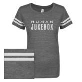 ENZA Ladies Dark Heather/White Vintage Triblend Football Tee-Human Jukebox Wordmark Glitter