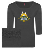Ladies Charcoal Heather Tri Blend Lace 3/4 Sleeve Tee-The Human Jukebox Official Mark