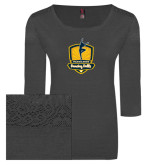 Ladies Charcoal Heather Tri Blend Lace 3/4 Sleeve Tee-Fabulous Dancing Dolls Official Mark