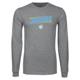 Grey Long Sleeve T Shirt-Slanted Jaguars w/ Logo