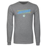 Grey Long Sleeve T Shirt-Slanted Jaguars w/ Logo