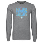 Grey Long Sleeve T Shirt-Southern University Jaguars Stacked