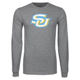 Grey Long Sleeve T Shirt-Interlocking SU Distressed