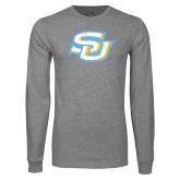 Grey Long Sleeve T Shirt-Interlocking SU Distressed