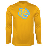 Syntrel Performance Gold Longsleeve Shirt-Jaguar Head