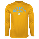 Syntrel Performance Gold Longsleeve Shirt-SUBR Jaguars Basketball Half Ball