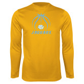Performance Gold Longsleeve Shirt-Jaguars Basketball Contour Lines