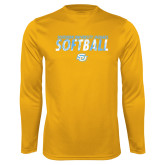 Performance Gold Longsleeve Shirt-Southern University Jaguars Softball Texture