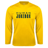 Syntrel Performance Gold Longsleeve Shirt-Human Jukebox Wordmark