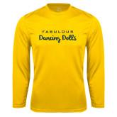 Syntrel Performance Gold Longsleeve Shirt-Fabulous Dancing Dolls Wordmark
