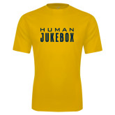 Syntrel Performance Gold Tee-Human Jukebox Wordmark