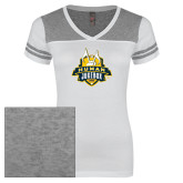 Ladies White/Heathered Nickel Juniors Varsity V Neck Tee-The Human Jukebox Official Mark