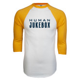 White/Gold Raglan Baseball T-Shirt-Human Jukebox Wordmark