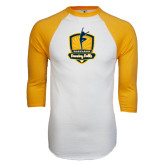 White/Gold Raglan Baseball T-Shirt-Fabulous Dancing Dolls Official Mark