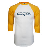 White/Gold Raglan Baseball T-Shirt-Fabulous Dancing Dolls Wordmark