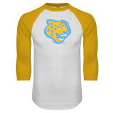 White/Gold Raglan Baseball T-Shirt-Jaguar Head