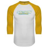 White/Gold Raglan Baseball T-Shirt-Southern Jaguars