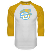 White/Gold Raglan Baseball T-Shirt-SU w/ Jaguar