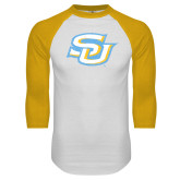 White/Gold Raglan Baseball T-Shirt-Interlocking SU Distressed