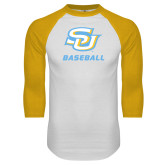 White/Gold Raglan Baseball T-Shirt-Baseball
