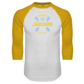 White/Gold Raglan Baseball T-Shirt-Jaguars Baseball w/ Seams