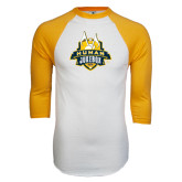 White/Gold Raglan Baseball T-Shirt-The Human Jukebox Official Mark Distressed