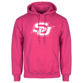 Fuchsia Fleece Hoodie-Interlocking SU