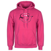 Fuchsia Fleece Hoodie-Interlocking SU Foil